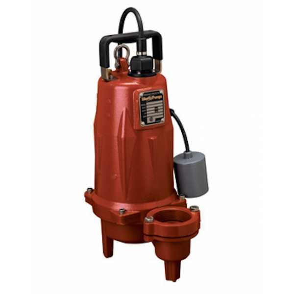 "Liberty Pumps LEH152A3-2 1 1/2 HP Automatic Sewage Pump w/ Piggyback Wide Angle Float Switch, 208V ~ 240V, 25"" cord"