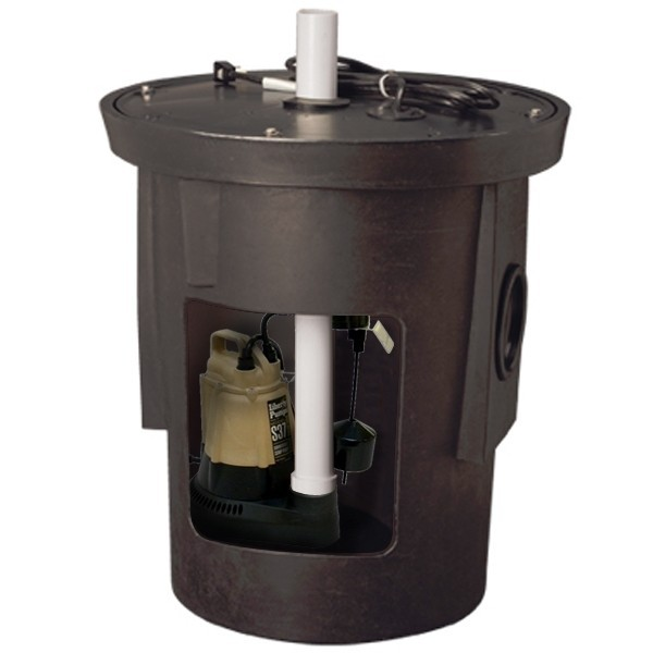"Assembled Sump Kit w/ 18"" x 22"" Basin, 1/3HP Sump Pump w/ 10' cord, 115V"