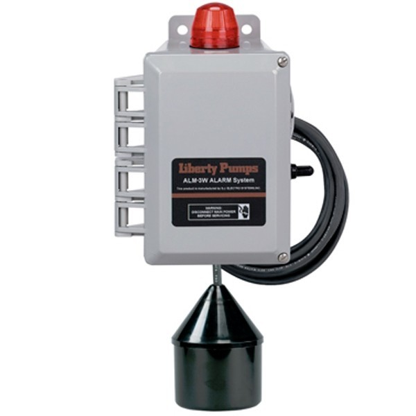 "Liberty Pumps ALM-3W Commercial Outdoor High Liquid Level Alarm, 88 decibel horn, 20"" cord"