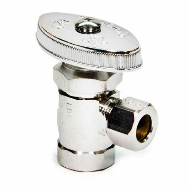 """3/8 FIP x 3/8"""" O.D. Compr. Angle Stop Valve, Lead Free (Chrome Plated)"""""""