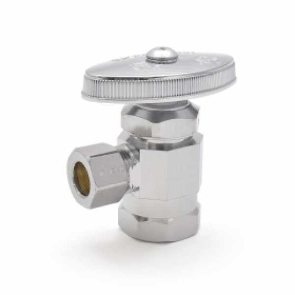 "1/2"" FIP x 3/8"" OD Compression Angle Stop Valve (Multi-Turn), Lead-Free"