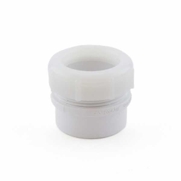 "1-1/2"" PVC DWV Male Trap Adapter w/ Plastic Nut (Spigot x Tubular Slip)"