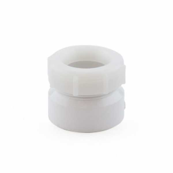 "1-1/2"" x 1-1/4"" PVC DWV Female Trap Adapter w/ Plastic Nut (Socket x Tubular Slip)"