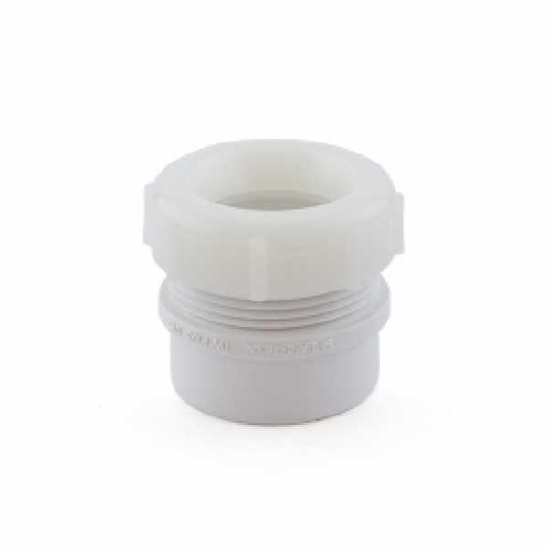 "1-1/2"" x 1-1/4"" PVC DWV Male Trap Adapter w/ Plastic Nut (Spigot x Tubular Slip)"