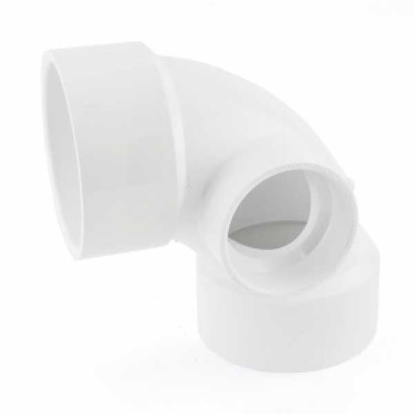 "3"" PVC DWV 90° Elbow w/ 2"" Side Inlet"