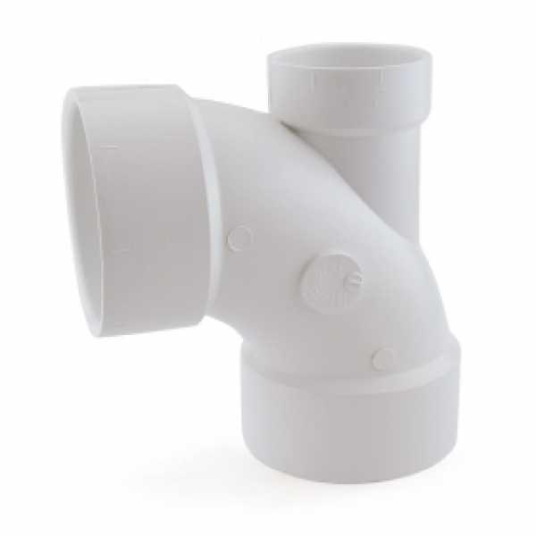 "3"" PVC DWV 90° Elbow w/ 2"" Low Heel Inlet"