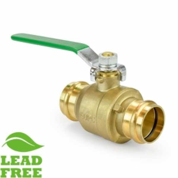 "1-1/4"" Press Brass Ball Valve, Full Port (Lead-Free)"
