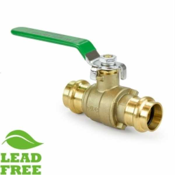 "3/4"" Press Brass Ball Valve, Full Port (Lead-Free)"