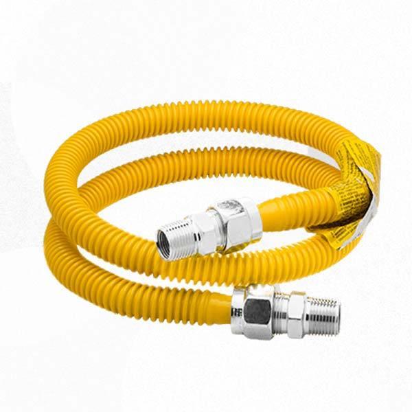 "BrassCraft CSSC14-72 72"" ProCoat Gas Connector, 3/4"" MIP (1/2"" FIP) x 1/2"" MIP, Stainless Steel"