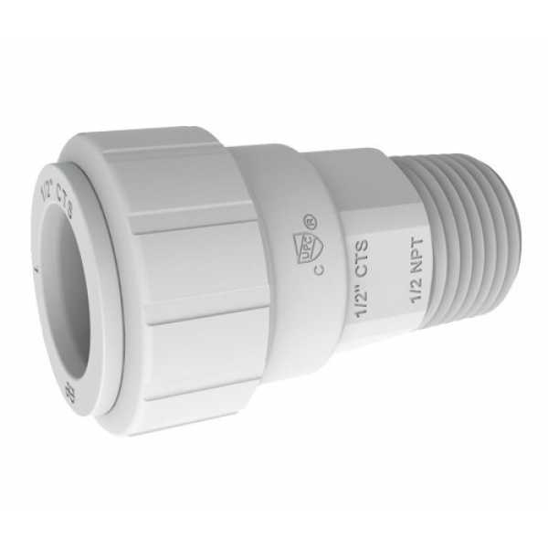 "John Guest PSEI012024 1/2"" CTS x 1/2"" NPT Speedfit Secure Male Connector"