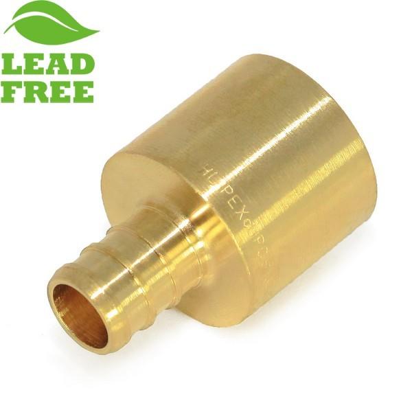 """Everhot PXLF7302 1/2"""" PEX x 3/4"""" Lead-Free Copper Pipe Adapter"""