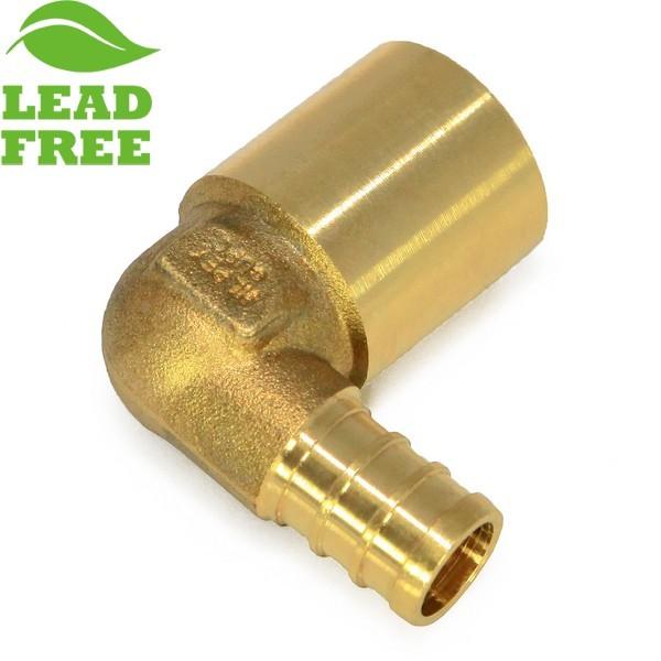 "Everhot PXLF7602 1/2"" PEX x 3/4"" Lead-Free Copper Fitting Elbow"