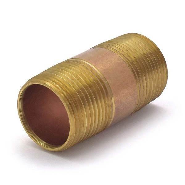 "Everhot RB-100X212 1"" x 2-1/2"""" Brass Pipe Nipple"