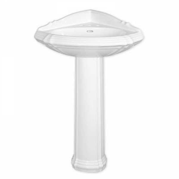 "Fine Fixtures RE2622BI 26 x 22 Regent Style Corner Pedestal Lavatory(Biscuit) 8""""cc"