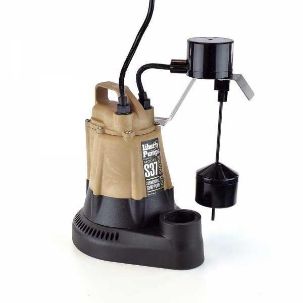 Liberty Pumps S37, 1/3HP Automatic Sump Pump, Vertical Float Switch, 115V, 10'