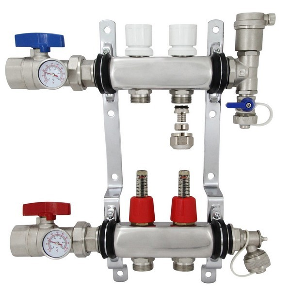 "Rifeng SSM102 2-branch Radiant Heat Manifold, Stainless Steel, for PEX, 1/2"" Adapters Incl."