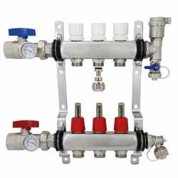 """3 Branch Stainless Steel Radiant Heat Manifold Set w/ 1/2"""" PEX adapters"""
