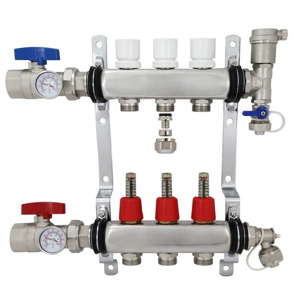 "Rifeng SSM103 3-branch Radiant Heat Manifold, Stainless Steel, for PEX, 1/2"" Adapters Incl."
