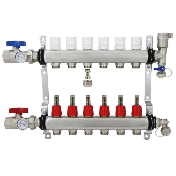 "6 Branch Stainless Steel Radiant Heat Manifold Set w/ 1/2"" PEX adapters"