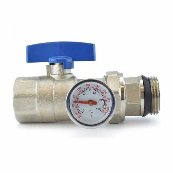 Rifeng SSM401 Manifold Ball Valve with Temperature Gauge (blue handle)