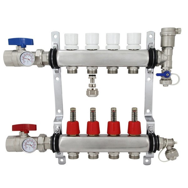 "Rifeng SSM104 4-branch Radiant Heat Manifold, Stainless Steel, for PEX, 1/2"" Adapters Incl."
