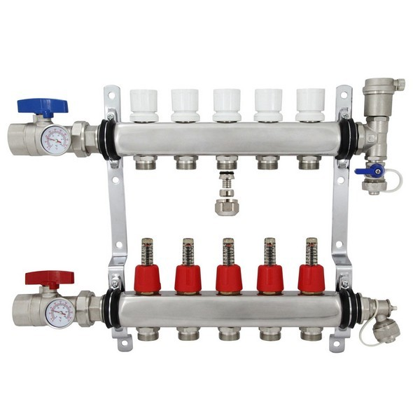 """Rifeng SSM105 5-branch Radiant Heat Manifold, Stainless Steel, for PEX, 1/2"""" Adapters Incl."""