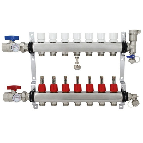 """7 Branch Stainless Steel Radiant Heat Manifold Set w/ 1/2"""" PEX adapters"""