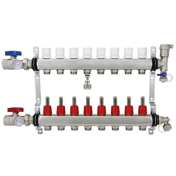 """Rifeng SSM108 8-branch Radiant Heat Manifold, Stainless Steel, for PEX, 1/2"""" Adapters Incl."""