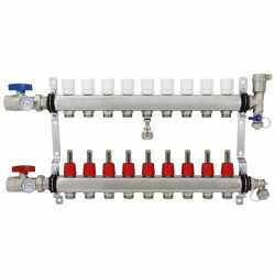 "Rifeng SSM109 9-branch Radiant Heat Manifold, Stainless Steel, for PEX, 1/2"" Adapters Incl."