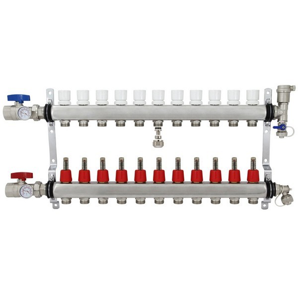 "Rifeng SSM111 11-branch Radiant Heat Manifold, Stainless Steel, for PEX, 1/2"" Adapters Incl."