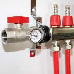 """4 Branch Stainless Steel Radiant Heat Manifold Set w/ 1/2"""" PEX adapters"""