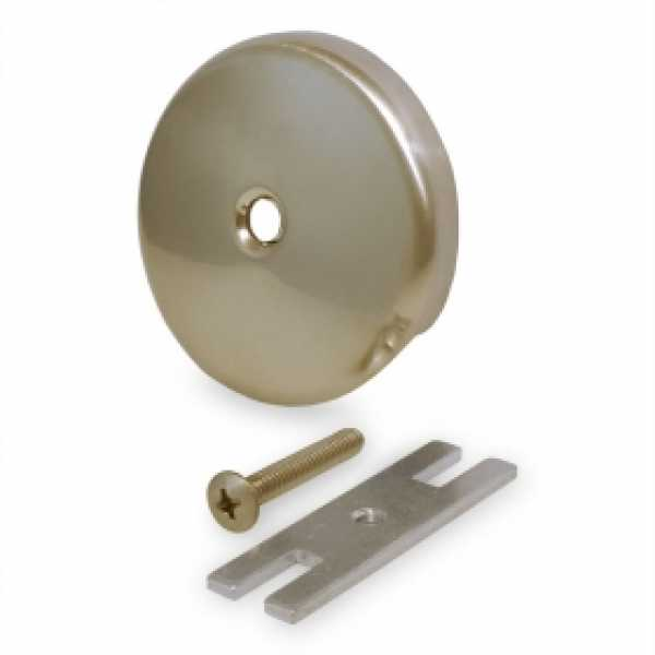Bathtub Overflow Faceplate w/ Screw & Bracket, Satin Nickel, 1-hole