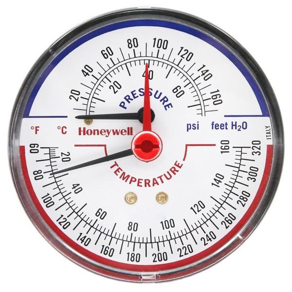 """Honeywell TD-090 3-1/8"""" Teperature & Pressure Tridicator, Male NPT"""