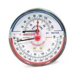 """Honeywell TD-165 3-1/8"""" Teperature & Pressure Tridicator, Male NPT"""