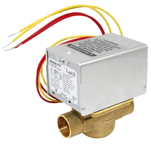 """Honeywell V8043E1012 Two-way, Straight-through Zone Valve, 3/4"""" Sweat Connection"""