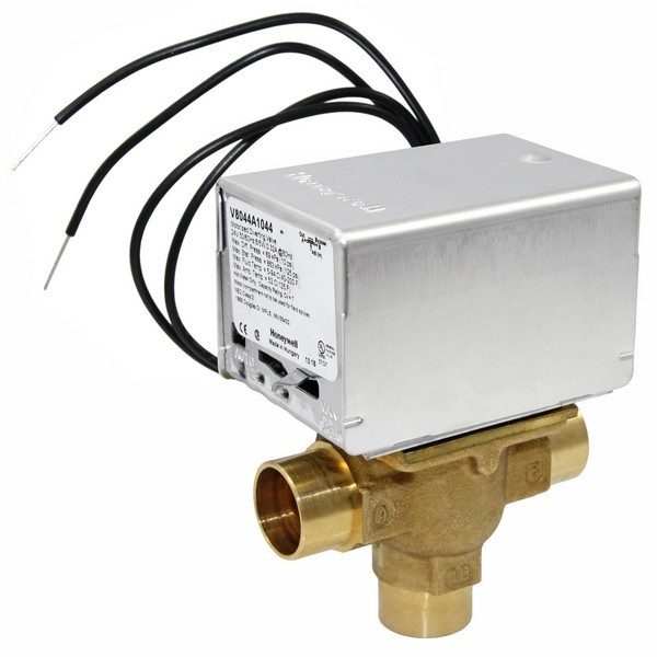 """Honeywell V8044A1044 Three-way, Diverting Zone Valve, 3/4"""" Sweat Connection"""
