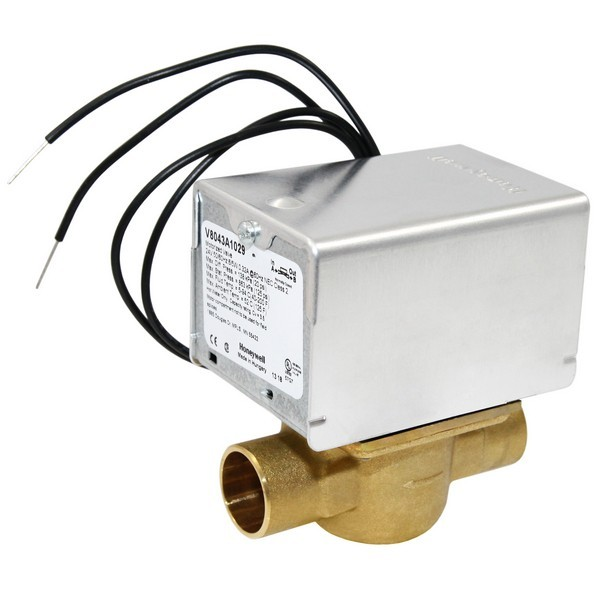 """Honeywell V8043A1029 Two-way, Straight-through Zone Valve, 3/4"""" Sweat Connection"""