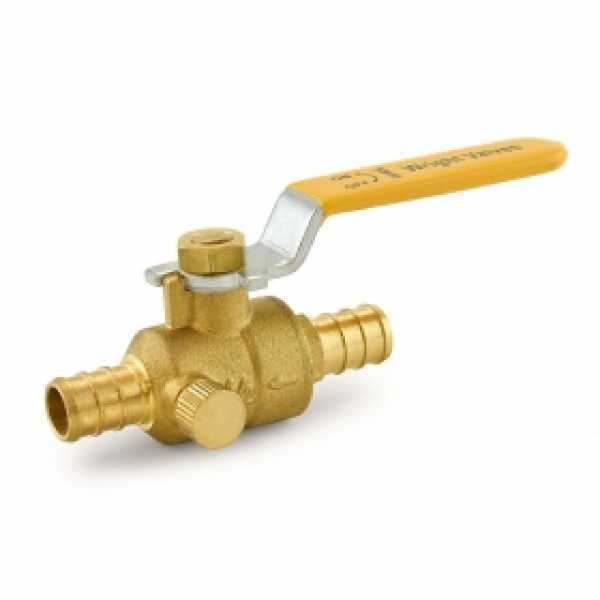 "1/2"" PEX Brass Ball Valve w/ Waste Outlet, Full Port"