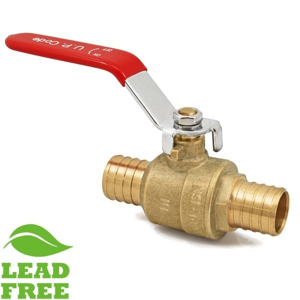 "Everhot VPP10-LF 1"" Brass Ball Valve, PEX, Full Port (Lead-Free)"