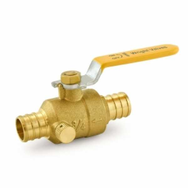 "3/4"" PEX Brass Ball Valve w/ Waste Outlet, Full Port"