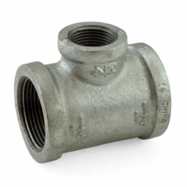 "1-1/4"" x 1-1/4"" x 3/4"" Galvanized Reducing Tee"