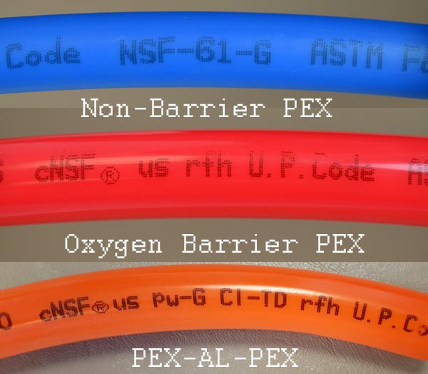 NSF codes for each type of PEX