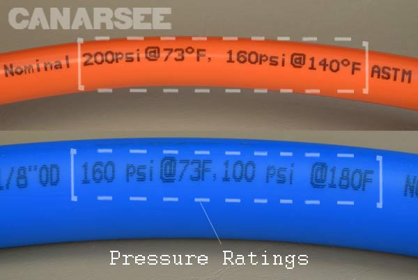 pressure ratings for Non Barrier & PEX-AL